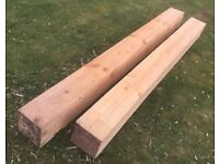 2No Softwood Beams 2.32m and 2.48m by 200mm square