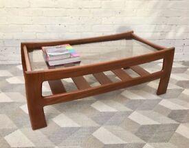 G Plan Glass Coffee Table with Shelf #508