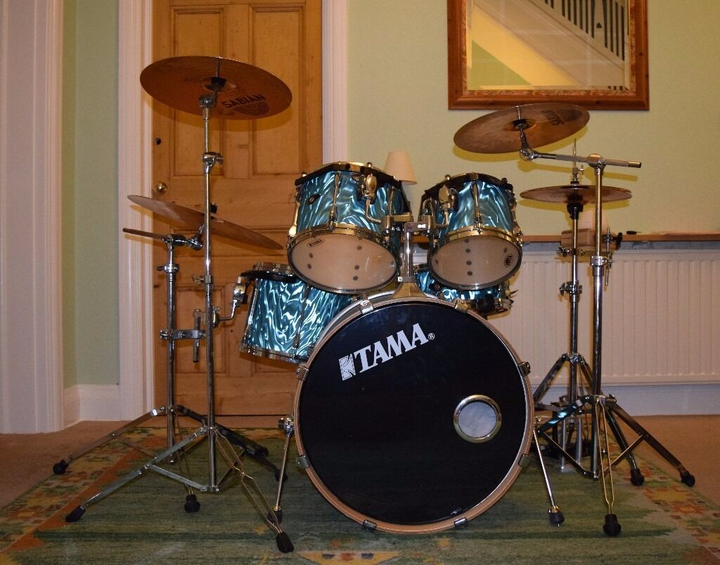 Tama Superstar 5 Piece Drum Kit Sabian Cymbals Hardware Double Bass Pedal