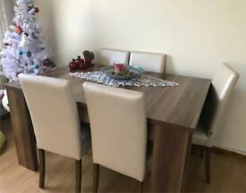 Walnut Wood table with chairs 8 people