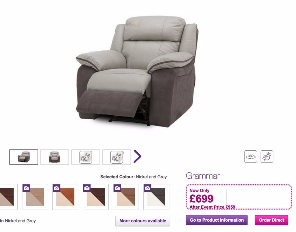 BRAND NEW LIGHT GREY THICK LEATHER DFS GRAMMAR ELECTRIC RECLINER ARMCHAIR WITH USB PORT  sc 1 st  Gumtree & BRAND NEW LIGHT GREY THICK LEATHER DFS GRAMMAR ELECTRIC RECLINER ... islam-shia.org