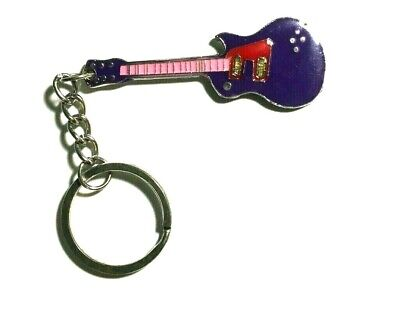 Guitar Key Chain / Ring Purple Pink Red on Silver Tone  Metal