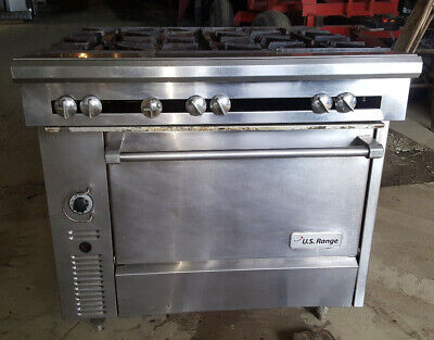 Us Range Natural Gas Commercial 36 6 Six Burner Heavy Duty Range Oven Stove