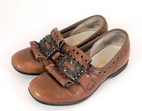Vtg Antique Early 1900s Victorian Baby Toddler Kids Leather Loafer Buckle Shoes