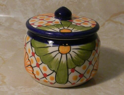 "Handcrafted Clay Mexican Trinket Box Talavera 2.5"" San Gabriel Chiapas Mexico"