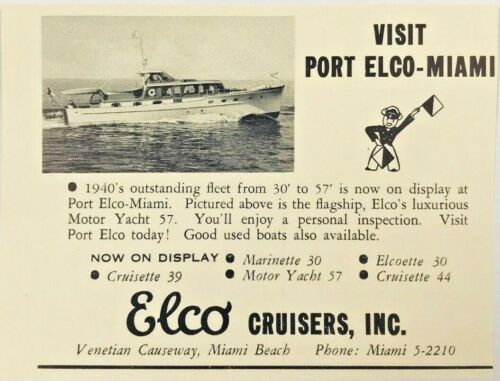 1940 Advertising Port Elco Cruisers Miami Beach Luxurious Yacht Boat Print Ad