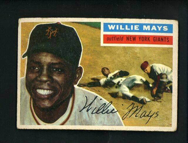 1956 Topps # 130 Willie Mays Grey Back VG cond New York Giants