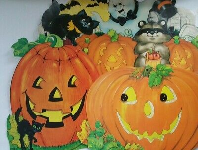 Vintage Wall Hanging Paper Jack O Lantern Halloween Decoration Lot of 3