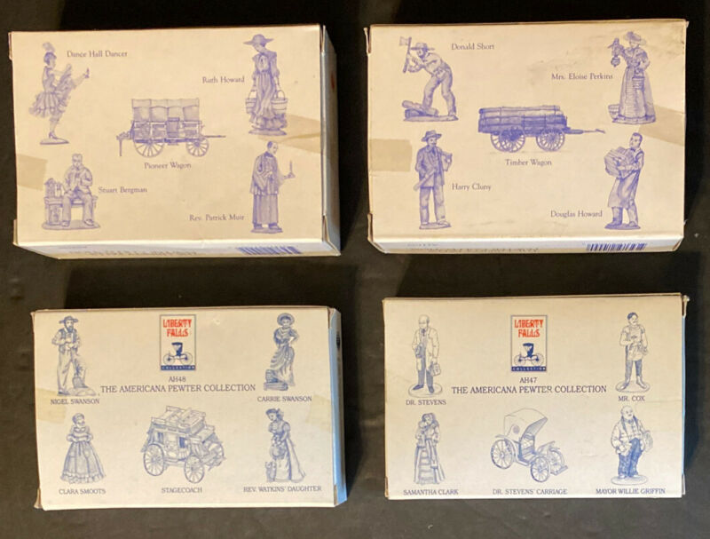 4 BOXES LIBERTY FALLS PEWTER FIGURINES 20 Pieces