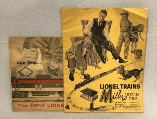 Lionel 1955 Yellow Merchandiser Pulp Catalog and 1956 Accessories Catalog