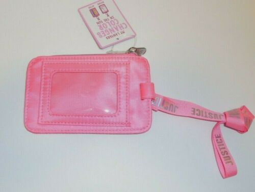 Justice Girls Purse Pink ID Holder Wallet New Color Changing Lanyard