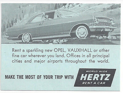 1960S Hertz Rent A Car Sas Currency Converter Card   Opel Vauxhall Auto Pictured