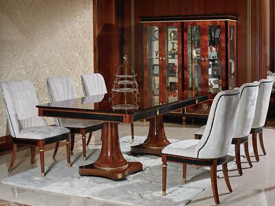 Clásico Mesa de Comedor Madera Conjunto + 4x Silla Barroco E68