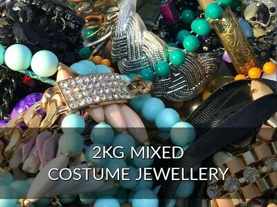 2KG Mixed Costume Jewellery Joblot - Rings - Necklace - Bracelet - VGC