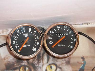 SMITHS REPLICA SPEEDOMETER  TACHOMETER SET TRIUMPH BLACK FACE CHROM