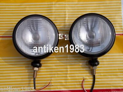 Ford Tractor Head Light Set Lh Rh - 12 V Black 5 34 With Bulbs