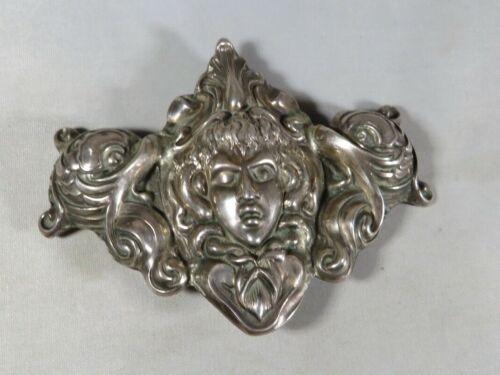 Antique Victorian Sterling Silver Art Nouveau Belt Buckle