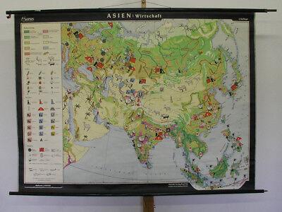 Schulwandkarte Asien Wirtschaft 160x118cm ~1960 vintage asia economy map chart