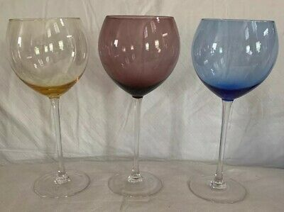 Colored Wine Goblets Glasses Round Bowl Long Thin  Clear Stem Fine Stemware Mint Wine Round Bowl