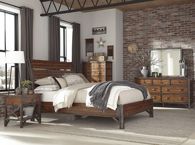 RUSTIC INDUSTRIAL SLATTED PLANKS FAUX RIVETS QUEEN BED BEDROOM FURNITURE  ()
