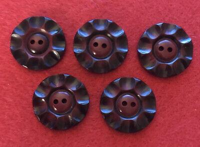 Set Of 5  Vintage Maroon Red 2-Hole Buttons 25mm/40 Ligne