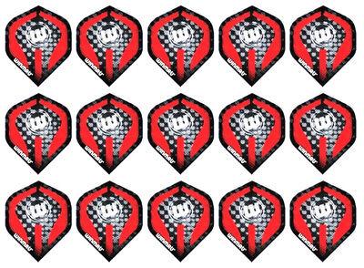 5 New Sets Winmau Embossed Standard Dart Flights – Red Logo