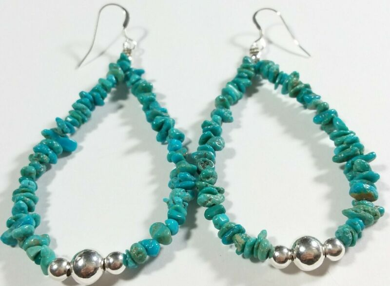 """NAVAJO TAMMY NOLCOTT STERLING SILVER TURQUOISE NUGGETS 3"""" x 1 1/4"""" EARRINGS"""