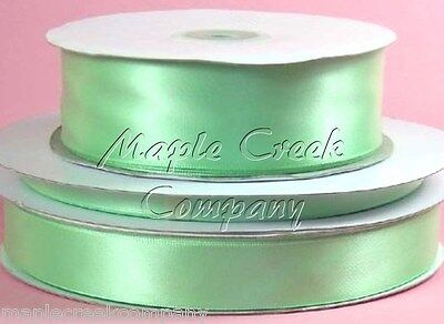 Double Face MINT GREEN Polyester Satin Ribbon Assorted Sizes ~ Elegant & Silky - Mint Green Ribbon