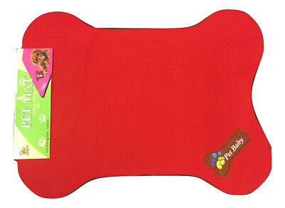 Pet Bed Cage Mat Pad Dog Colorful Antibacterial Bone Shaped Sleeper Red 25x19