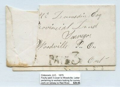 Cobocock UC 1875 paid 3 > Woodville survey work RY > Red River stampless Canada