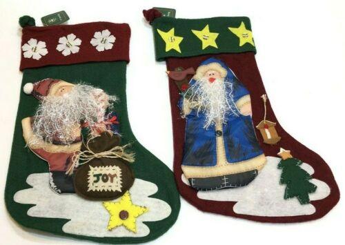 "Lot Of 2 Christmas House Felt Christmas Stockings 19"" 1980"