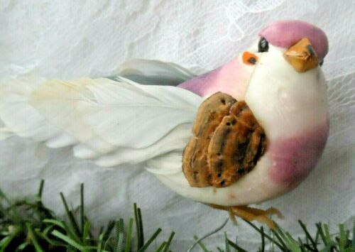 Vintage Christmas Decor/Ornament  WIRE-ON LAVENDER & PINK BIRD w/REAL FEATHERS