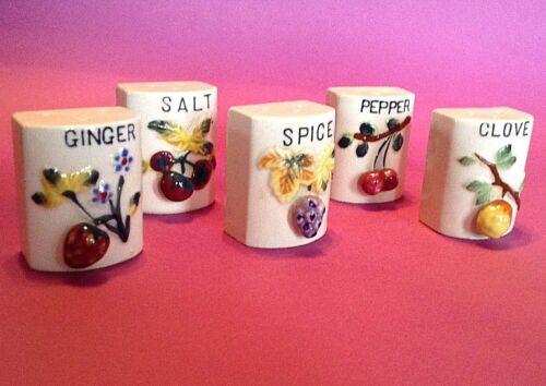 Hand Painted Vintage Shakers - 3D Fruit - Salt Pepper Clove Ginger Spice - Japan