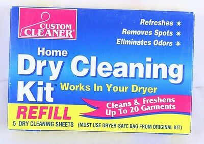 Custom Cleaners Home Dry Cleaning Kit Refill 5 Cleaning Sheets Only Sealed Boxes