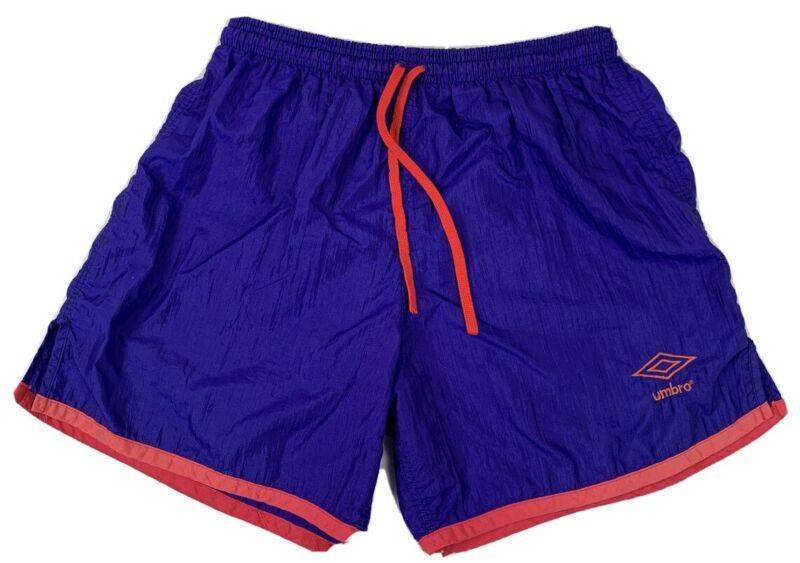 Vtg 90's Mens Umbro Soccer Shorts Nylon Crinkle Purple Pink Drawstring Size M