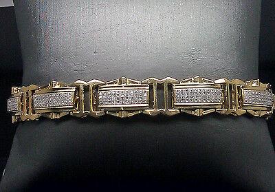 Men's Real 10K Yellow Gold Genuine Diamond Bracelet 1.00CT With 4 Rows Diamond