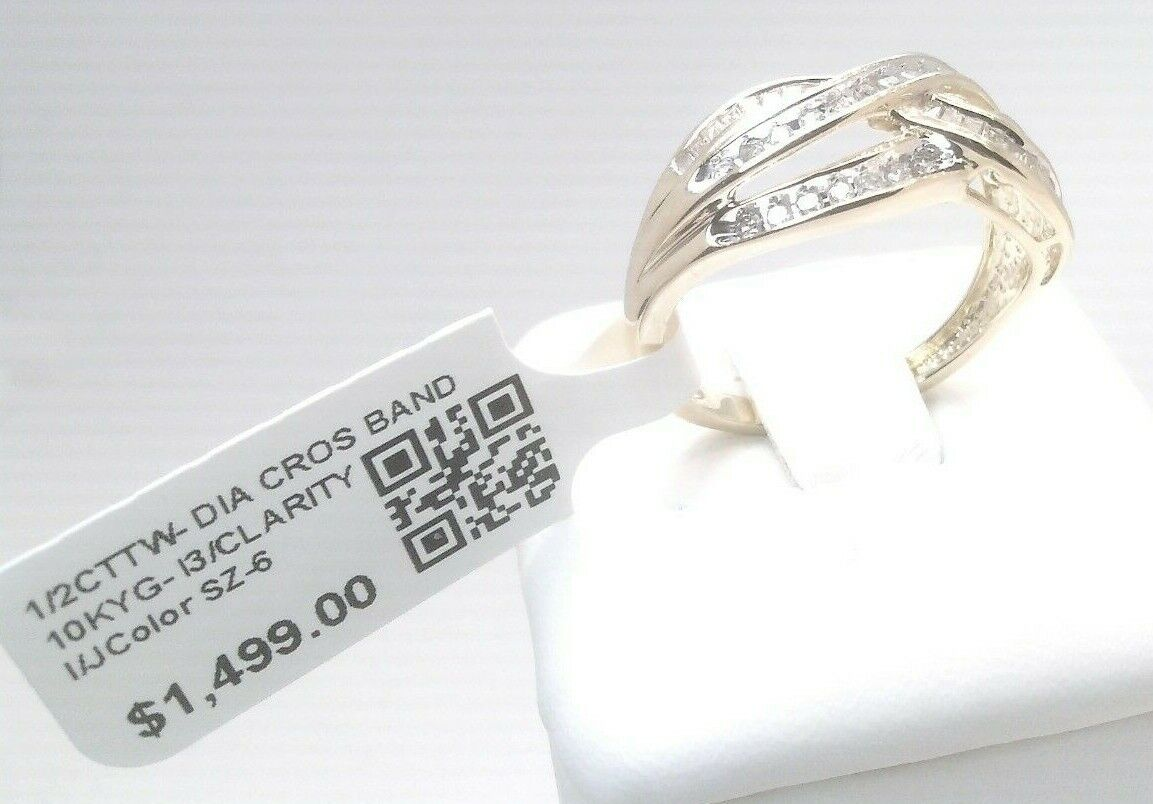 1500 1/2CTTW Natural Diamond Engagement CROSSOVER Band Ring Solid Yellow Gold - $132.50