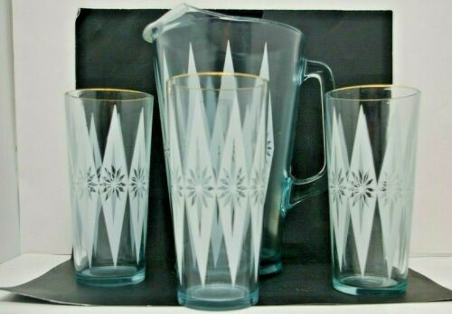 Mid Century Retro Atomic age Pitcher and 3 Tumblers