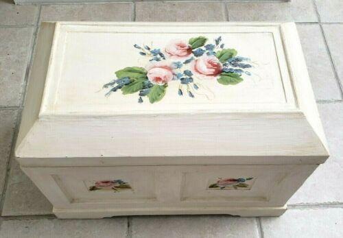 Vintage Wooden Rose Chest Box Trunk Storage