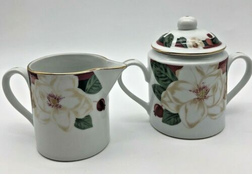 Tienshan Fine China Magnolia Creamer and Sugar Bowl Set