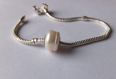 CREAM PEARLISED  Murano Glass Bead .925 4mm Silver Core