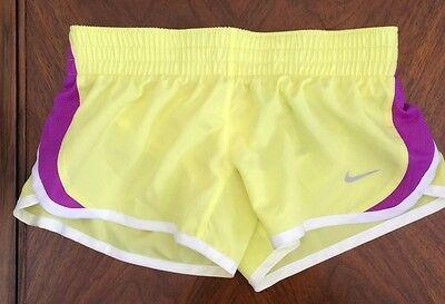 * Nike Girls Sz S 6 7 Dri Fit Athletic Running Shorts Yellow Purple 555896 734