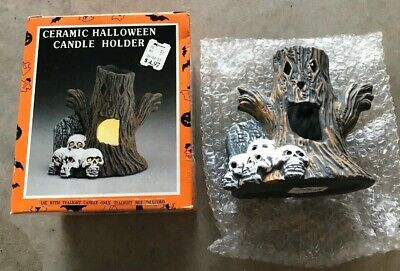 Vintage KMART Ceramic Halloween TEALIGHT Candle Holder Tree Skulls decoration - Kmart Halloween Decorations