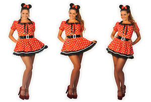 Sexy Womens Halloween ladies Minnie Red Mouse Fancy Dress Costume outfit 6-16