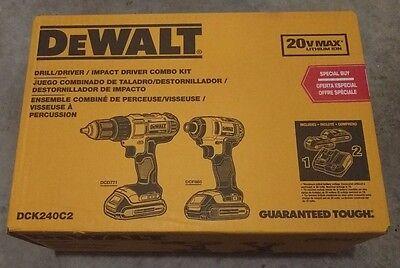 DEWALT DCK240C2 20V MAX Cordless Li-Ion 2-Tool Combo Kit - BRAND NEW !!!!!!