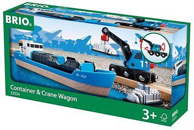 Brio Containerschiff mit Kranwagen mit Kranwagen zum Be Entladen 4X Spiel