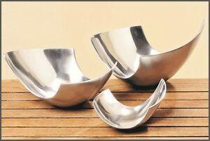 3 x asymetrische Deko Aluminium Schale/Obstschale silberfarben modern *NEU*