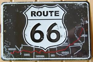 8x12 US Route 66 ALUMINUM SIGN rt vtg metal garage wall tin decor mother road ad