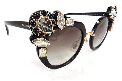 MIU MIU Women's Sunglasses MU04SS 1AB0A7 145 Black Acetate/Jewels ITALY - (Miu Miu Acetate Sunglasses)