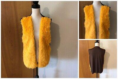 Brown Knit Back Faux Orange Fur Front Open Fit Vest Boho Hippie Costume Piece